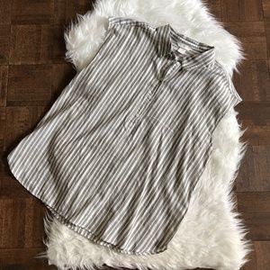 H&M 12 Sleeveless Popover Blouse Gray Beige NWOT